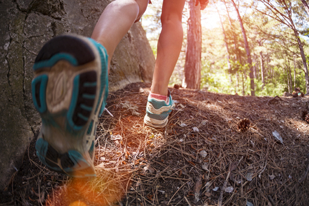 Sports shoes on women's legs. Sneakers close up. A girl is walking in the woods. A woman runs along a forest trail. Cross-country running. Trail Running. Fisheye lens.