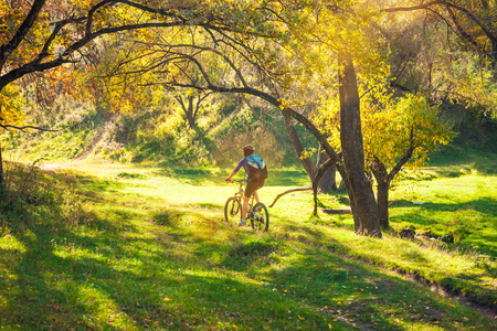 Biking in the forest. Girl rides a bike on a forest trail. Woman riding her bike in the park. Bicycle touring. Travel to scenic places. Autumn trees. 免版税图像