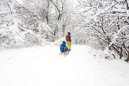 Une femme porte un enfant sur un traîneau. Maman marche avec son fils dans la forêt enneigée. Joyeuses vacances d'hiver. Plaisir d'hiver. Bébé sur le traîneau.