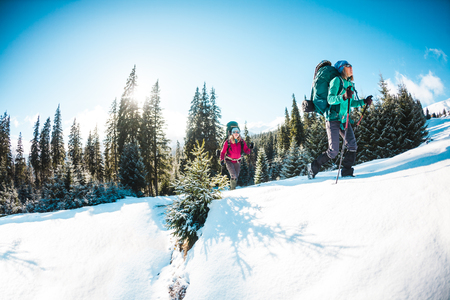 Two women in a winter hike. Girlfriends with trekking poles are on a snow covered mountain path. Girls with backpacks and snowshoes travel together. Friends walk on a sunny day through the fir forest. Standard-Bild - 115854552