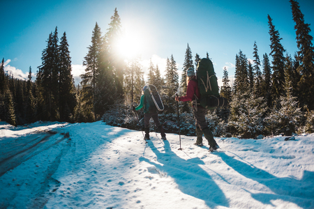 Two women in a winter hike. Girlfriends with trekking poles are on a snow-covered mountain path. Girls with backpacks and snowshoes travel together. Friends walk on a sunny day through the fir forest. Standard-Bild - 115854556