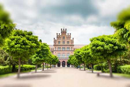 Chernivtsi National University. Education in Ukraine. Beautiful old building on a background of the cloudy sky. Sights of Chernivtsi. Historical building. Standard-Bild - 115828951