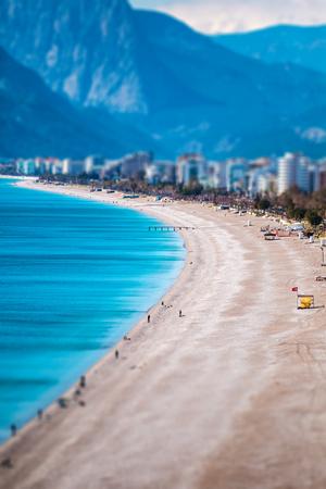Mediterranean coast. Beach in Antalya. Holidays in Turkey. Tilt-Shift Effect Stockfoto