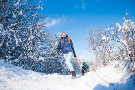 A woman pulls a sled with a child. Mother walks with her son through a snowy forest. Winter walk in the park. The boy rides on a sled. Winter activities with children. Fisheye lens. 스톡 콘텐츠