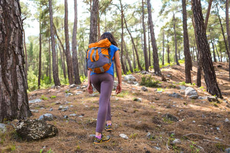 A woman travels alone in picturesque places. A girl with a backpack goes along a mountain trail. A woman walks through the woods alone.