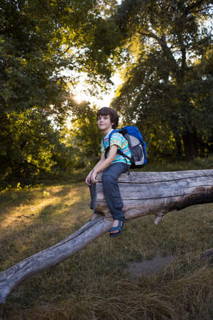 A boy with a backpack sits on the trunk of a fallen tree, a child walks through the forest, a kid is exploring nature.