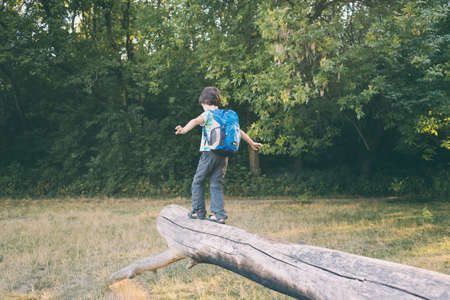 A boy with a backpack walks along the trunk of a fallen tree, a child walks through the forest, a kid is exploring nature, a boy learns to keep his balance. Archivio Fotografico