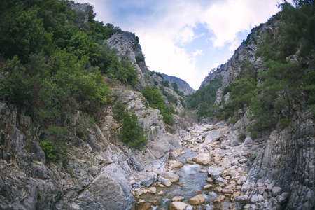 A mountain river at the bottom of a canyon, a rapid stream, large stones on the river bank, picturesque nature of Turkey.