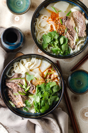 Chinese Lanzhou Beef Noodles Stock Photo