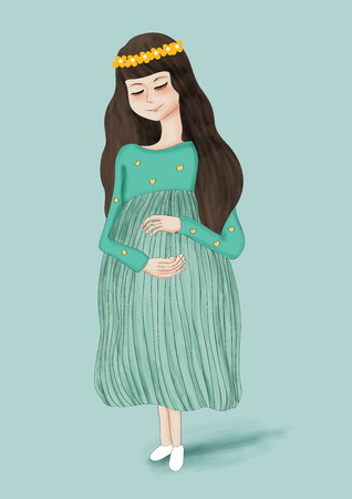 motherly: pregnant woman in green dress Stock Photo
