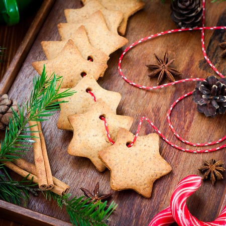 Cookies with cinnamon star-shaped, square image