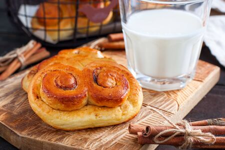 Sweet rolls with cinnamon and cocoa filling