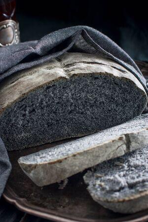 Homemade black bread, selective focus