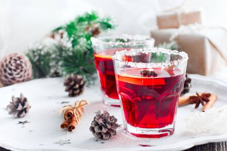 Mulled wine with cranberries and orange