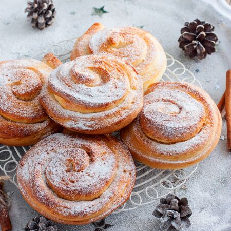 Kanelbullar (Swedish cinnamon rolls) with powdered sugar, square