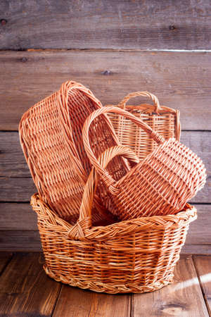 Woven baskets from natural vines, selective focus