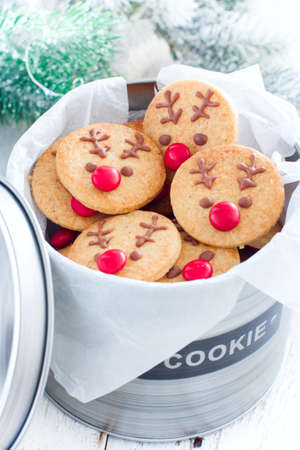 Rudolph's Christmas cookies in a metal jar with the inscription