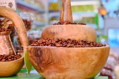 Sale of coffee beans in the Arab Bazaar in Medina