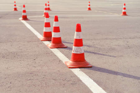 Cones on the site for learning to drive a car