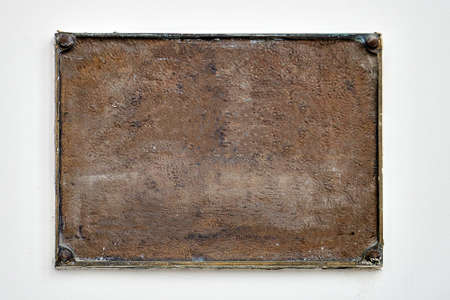 Background of rusty metal plate, copy space. Texture of dirty iron close up Standard-Bild