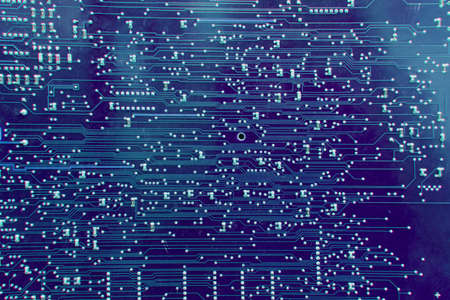 Background blue printed circuit board is a plate made of dielectric. On the surface of which the electrically conductive paths of the electronic circuit are formed.