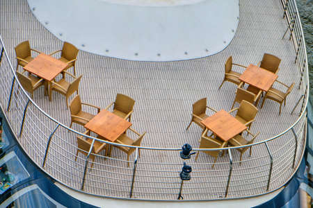 Summer restaurant on the ship, top view Stock Photo