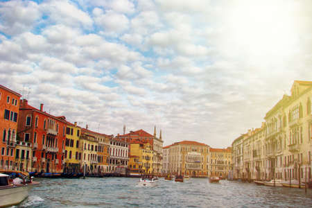 Grand Canal with gondolas in Venice, Italy. Grand Canal is one of the main travel attractions of Venice.