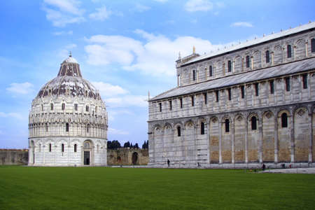 Battistero di San Giovanni, Pisa. Italy In Christian architecture the baptistery is the separate centrally planned structure surrounding the baptismal font. Stock Photo