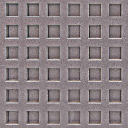 Background square metal surface with uniform notches, iron texture with holes