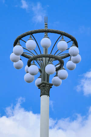 Street lamp with round plafonds at VDNH in the style of industrial design of the USSR
