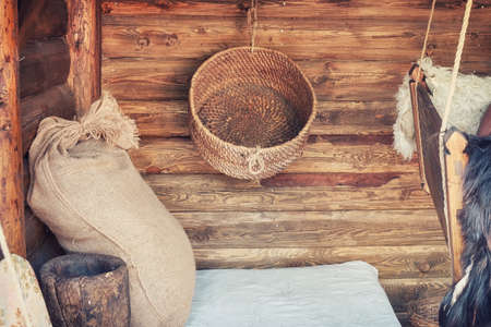 Household items in rustic style, Scandinavia. Retro life in the Swedish style in the old days. An old home of a traditional village family in Sweden, Stockholm. 版權商用圖片
