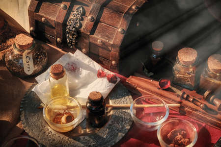 Production of spices and seasonings in the middle ages. Tools for mixing ingredients, retro. Vintage workshop chef cook spices.