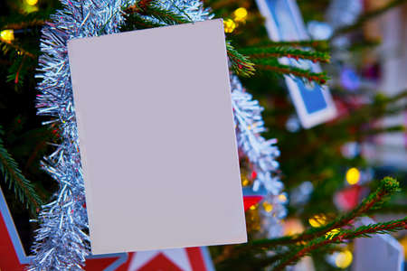 Christmas tree with postcards and copy space, new year mockup