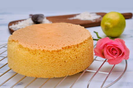 Fresh baked cake biscuit on a metal rack, side view. White background with pastry, flower, lemon and flour. Stock Photo