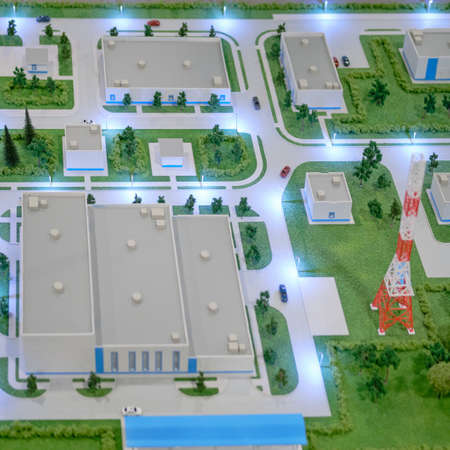 Vostochny spaceport layout. Exhibition Days of the far East - Moscow, Russia, 12 13 2019