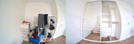 Before and after installing a built-in wardrobe in a wall niche 免版税图像