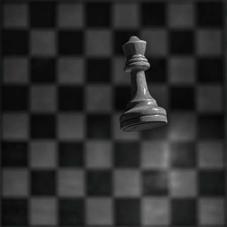 White chess piece queen and vintage shabby monochrome chessboard. Tournament, game and study of chess, concept