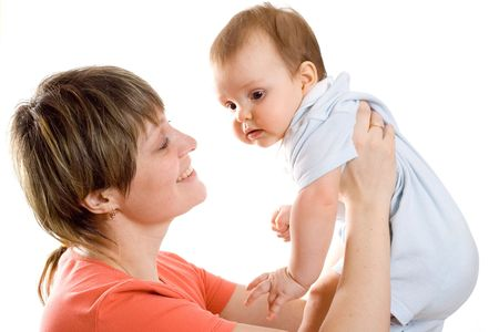 Young mother hold  his baby in hands and smile to him Stock Photo - 3119758