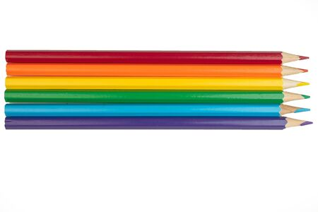 Colored pencils isolated on white background. LGBT color