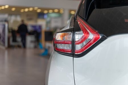 Image of a car part in a car dealership for sale. Car showroom Reklamní fotografie