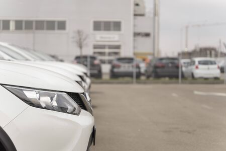 A row of used vehicles parked at a car dealership stock for sales Reklamní fotografie