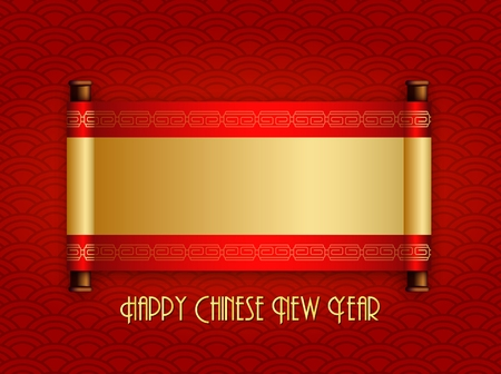 Chinese New Year greeting card with chinese scroll. Place for your text