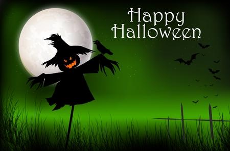 Halloween scary scarecrow Ilustração