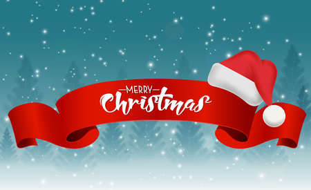 Christmas background with red ribbon and santa hat