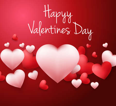 Happy Valentines Day background with with heart shaped balloons