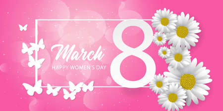 8 march international women's day background with paper cut butterfly and flower Ilustração