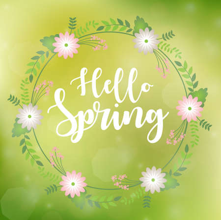 Romantic floral wreath with quote Hello Spring