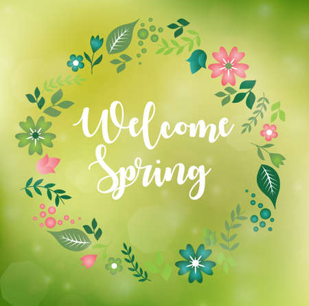Romantic floral wreath with quote Welcome Spring