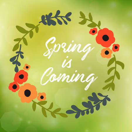 Romantic floral wreath with quote Spring is Coming Vettoriali