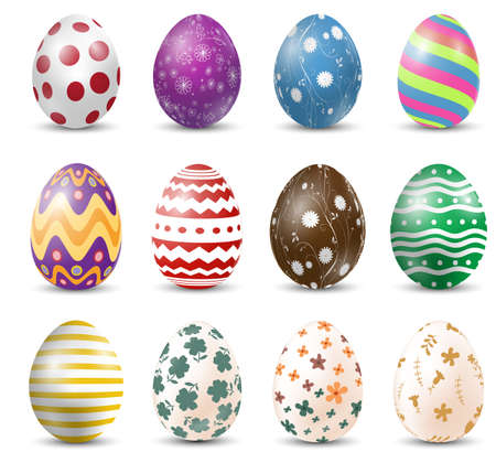 Set of Easter eggs on white background